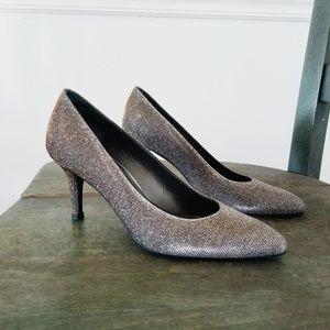 Stuart Weitzman Silver Glitter Heels - 6M